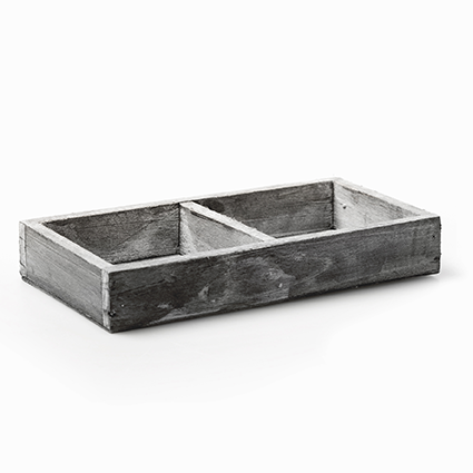 Wood tray grey 2-comp 3x18x9,5 cm