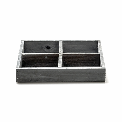 Wooden plate grey 4-comp 3x18x18 cm