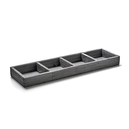 Houten onderbord grijs 4-vak 3x34x9,5