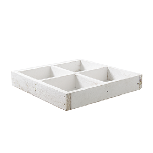 Woodtray white 4 comp 3x18x18 cm