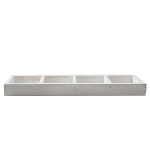 Wood tray white 4 comp 3x34x9,5 cm