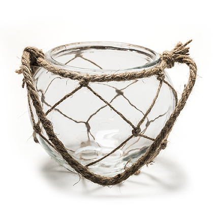 Glass+rope 'may' h12 d15 cm