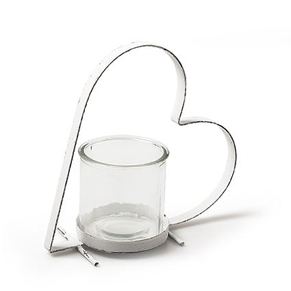 Metaal hart wit+glas h17x17x8 cm