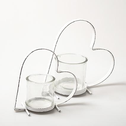 Metal heart white+glas h17 d17