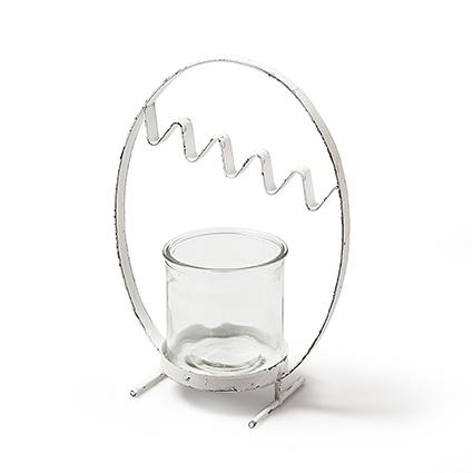 Metal egg white+glas h27x20x10