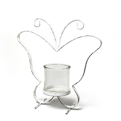 Metal butterfly white+glas h38