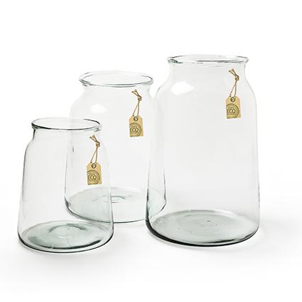 Eco glas vaas 'eddy' h30 bd23/td17 cm