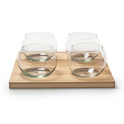 Eco set wood/4xglass 25x25 cm