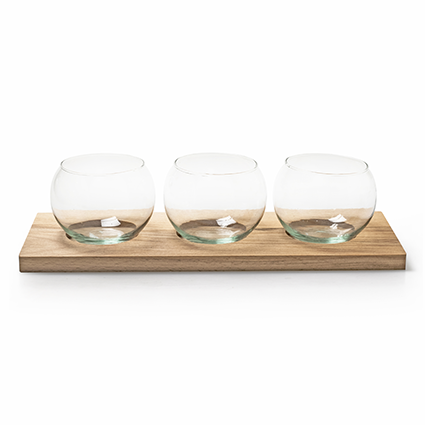 Eco set wood/3xglass 35x13 cm