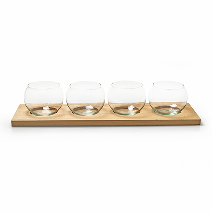 Eco set wood/4xglass 46x13 cm