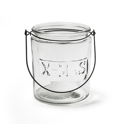 Glas met hanger 'x-mas' h14 d12 cm