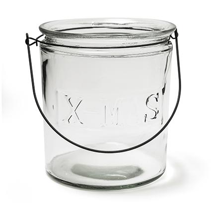 Glas met hanger 'x-mas' h20 d18 cm