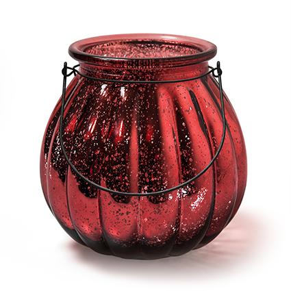 Lantaarn 'pumpkin' rood h18 d18cm