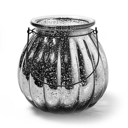 Lantaarn 'pumpkin' zilver h18 d18cm