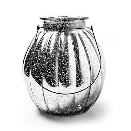 Lantaarn 'pumpkin' zilver h22 d19 cm