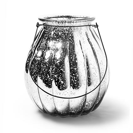 Lantaarn 'pumpkin' zilver h24 d22cm