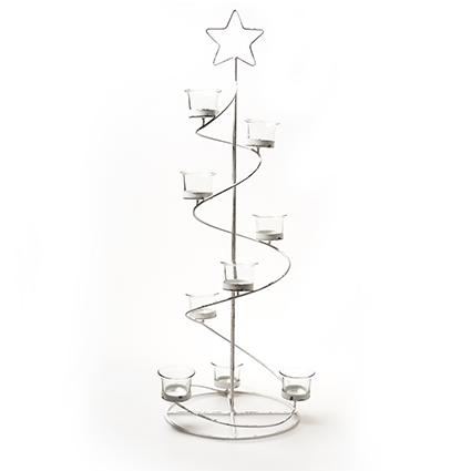 Ster spiraal + 9xglas wit h70 d24 cm