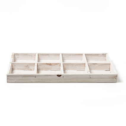 Wood tray rect. white 8-35x18
