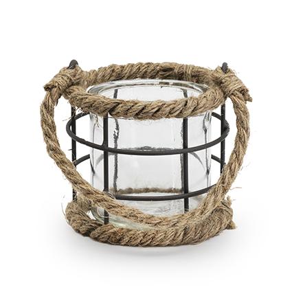 Lantaarn met touw h9,5 d10 cm