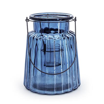 Glas 'isabella'+inzet blauw h22 d17 cm