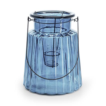 Glas 'isabella'+inzet blauw h25 d20,5 cm