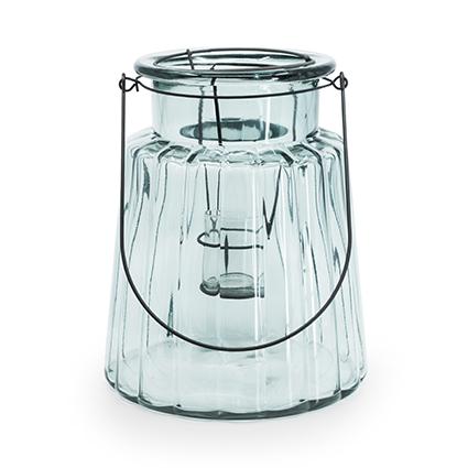 Glas 'isabella'+inzet groen h25 d20,5 cm