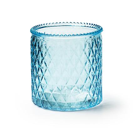 Vaas 'rococo' blauw h12,5 d12,5 cm