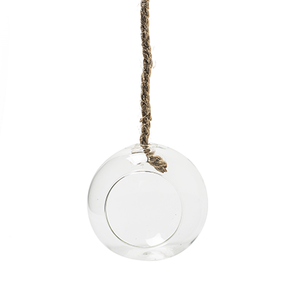Glassball+rope 'olga' d15cm