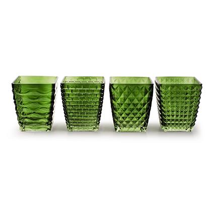 Glas vierkant 'cuba' groen 4-ass. h9,5 d8,5 cm