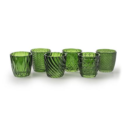 Tealight 'vicenzo' green 6-ass. h7 d6,8