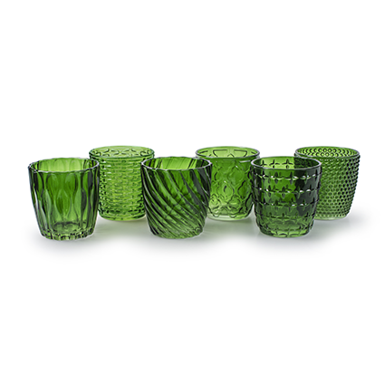 Tealight 'vicenzo' green 6-ass. h9 d8 cm