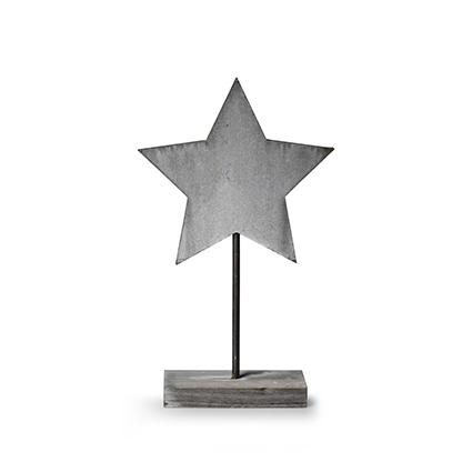 Wooden standing 'star' grey h30 cm