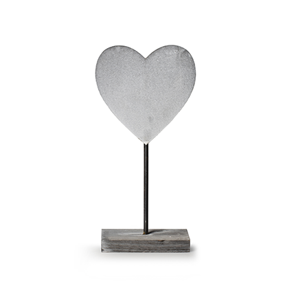 Wooden standing 'heart' grey h30 cm