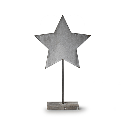 Wooden standing 'star' grey h40 cm