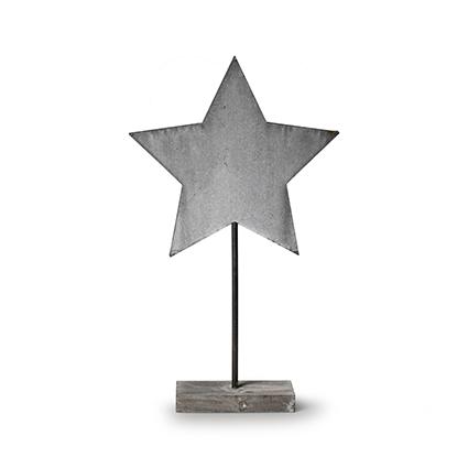 Houten staander 'ster' grijs h40 cm