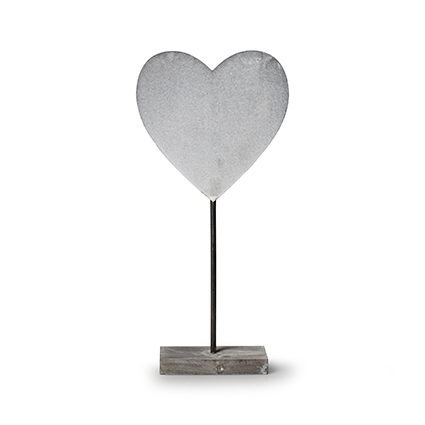 Wooden standing 'heart' grey h40 cm