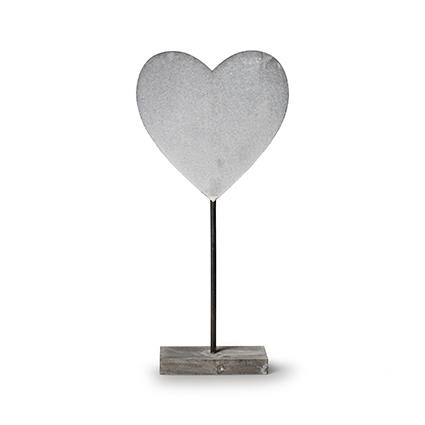 Houten staander 'hart' grijs h40 cm