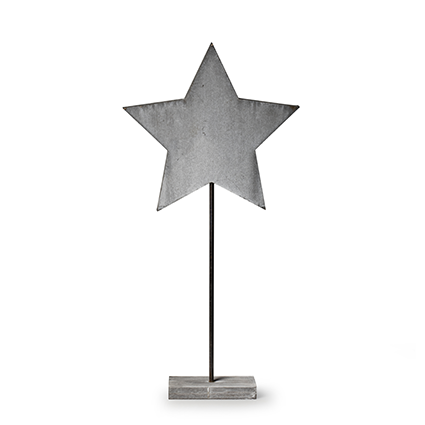 Wooden standing 'star' grey h50 cm
