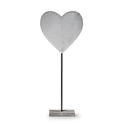 Houten staander 'hart' grijs h50 cm