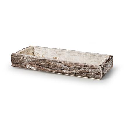 Tray 'bark' white 34x14,5x4 cm