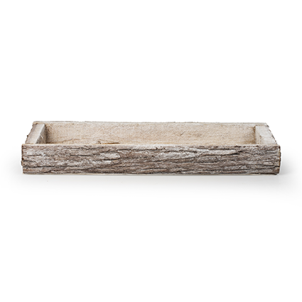 Tray 'bark' white 42x14,5x4 cm