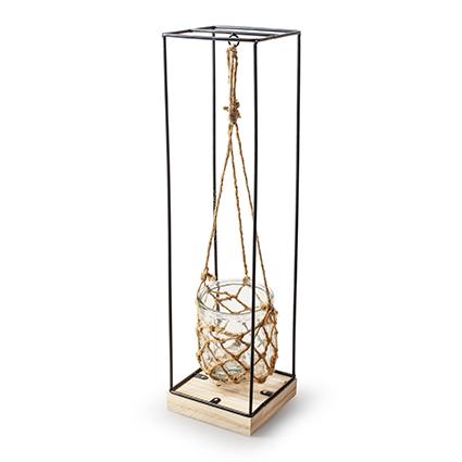 Metaal+glas 'swing' h58 d15x15 cm