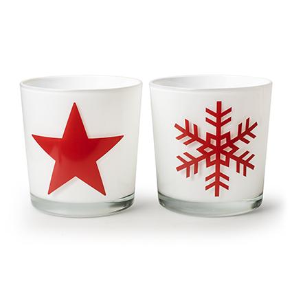 Con. vase 'monaco' white+star/snowflake