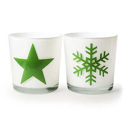 Kon. vaas 'monaco' wit+ster/sneeuwvlok groen h13