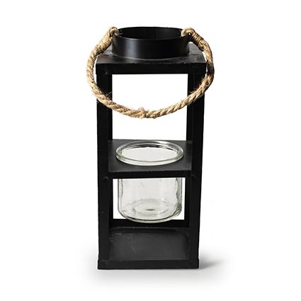 Lantern black metal h28/42 d12 cm