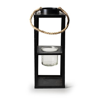 Lantern black metal h38/58 d14 cm