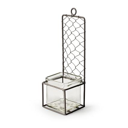 Wallhanger metal+1x cube h24 d8 cm