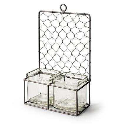 Wallhanger metal+2x cube h24 d16 cm