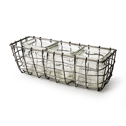 Wire basket square+3x cube h9 d26x10