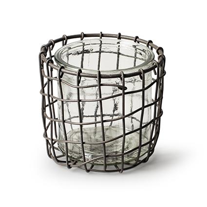 Metal basket round +1x cylinder h10,5